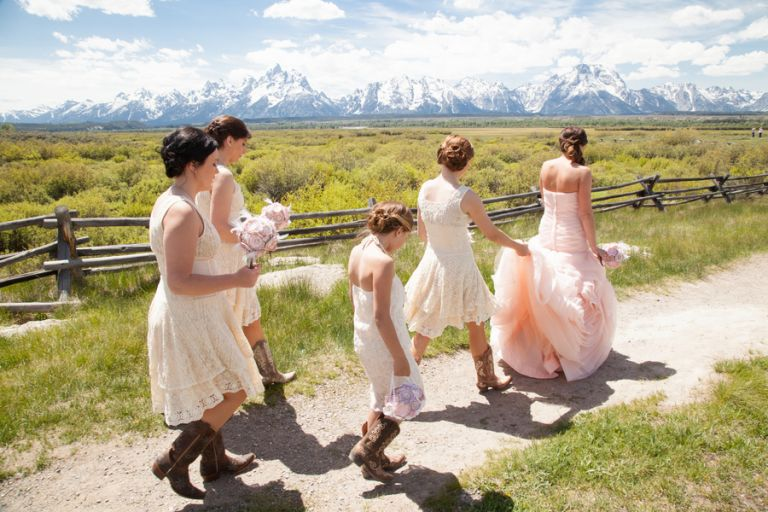 Bride and bridesmaids in blush pink for a wedding in the Grand Teton National Park   Heather Erson Photography   See More! http://heyweddinglady.com/wild-mountain-wedding-with-a-blush-gown-from-heather-erson-photography/
