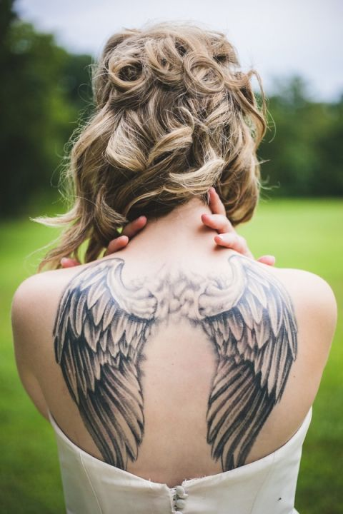 Elaborate Angel Wing Tattoo   Maddie K. Doucet Photography   See More! https://heyweddinglady.com/punk-princess-bride-wedding-styled-shoot-from-maddie-k-doucet-photography/