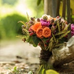 Pink and Orange Southern Garden Bridal Bouquet | Lovely and Light | See More! http://heyweddinglady.com/southern-garden-wedding-brunch-in-jewel-tones-from-lovely-and-light/