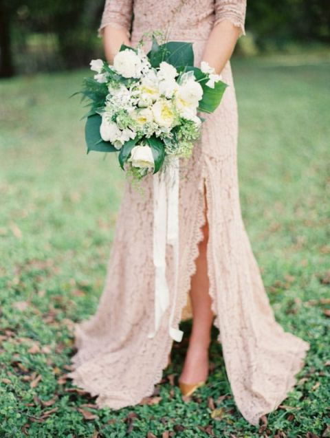 Taupe Lace Wedding Dress | Taylor Lord Photography | See More! https://heyweddinglady.com/fab-bridal-alternatives-white-wedding-dress/