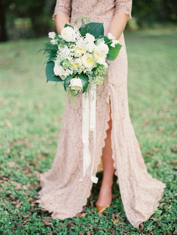 Fab bridal alternatives to the white wedding dress hey for Taupe lace wedding dress