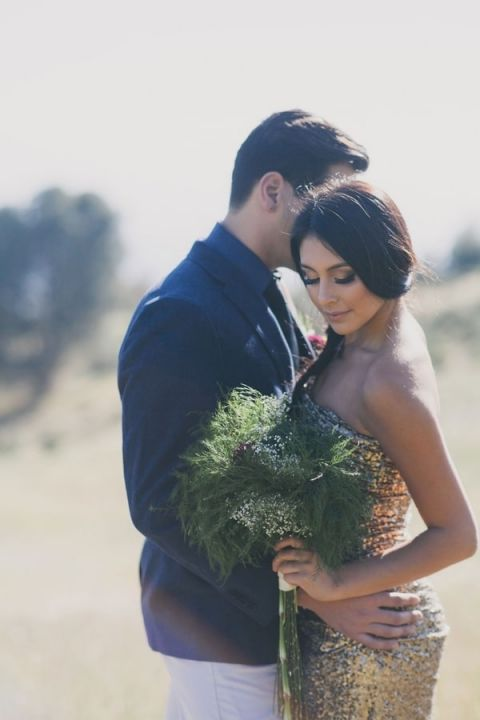 A Gold Sequin Badgley Mischka Gown and a Greenery Bouquet for a Rustic Glam Elopement | Alexandra Wallace Photography | See More! http://heyweddinglady.com/the-ultimate-rustic-glam-elopement-from-alexandra-wallace-photography/