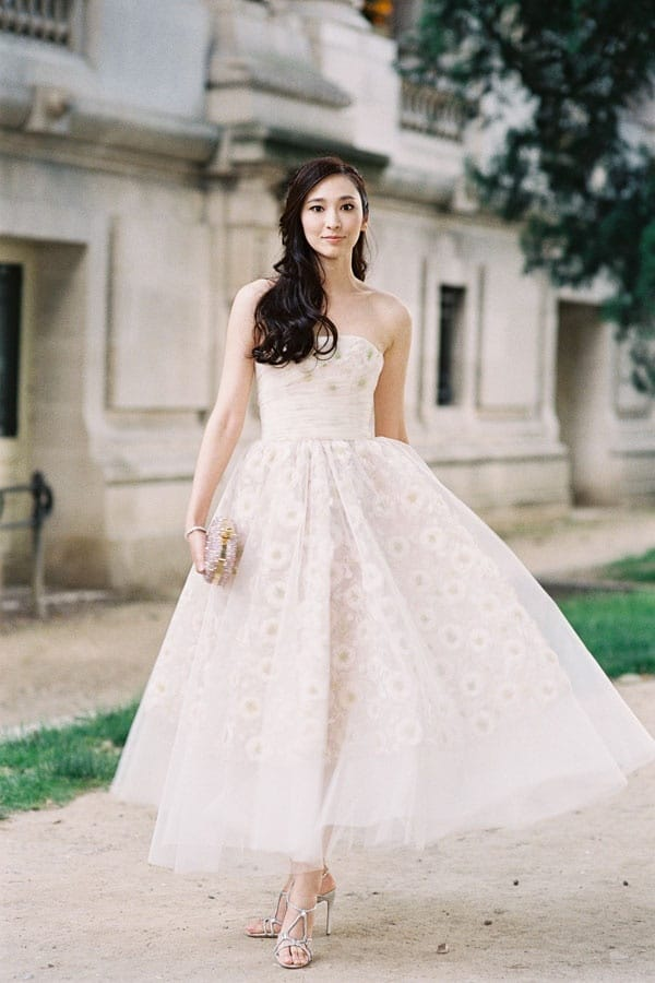 Perfectly Styled Romantic Glam Tea Length Gown | See More! http://heyweddinglady.com/bridal-styling-secrets-from-my-favorite-fashion-blogs/