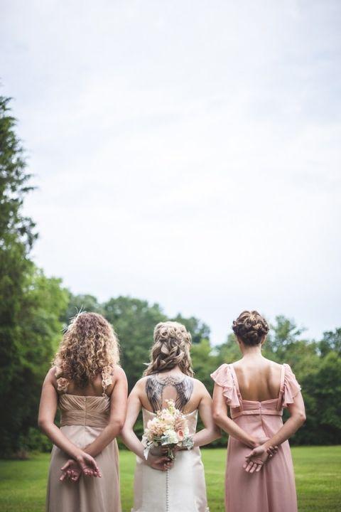 Romantic Pin Up Inspired Bride and Bridesmaids   Maddie K. Doucet Photography   See More! https://heyweddinglady.com/punk-princess-bride-wedding-styled-shoot-from-maddie-k-doucet-photography/