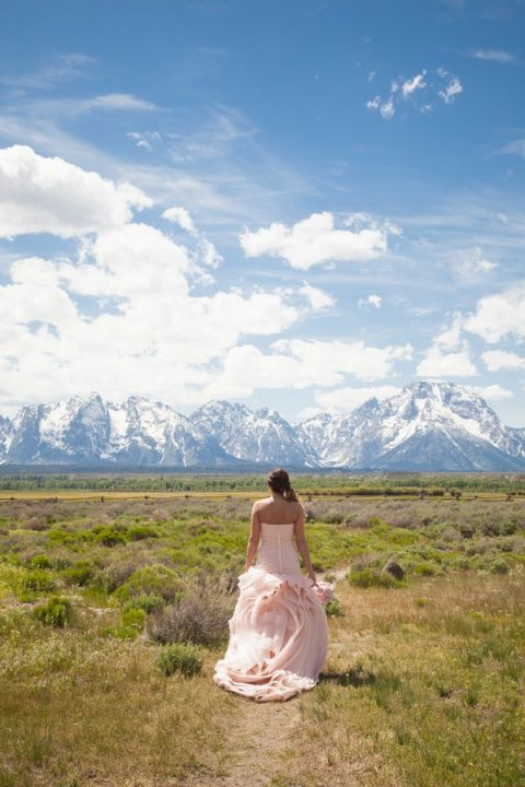 A Blush Vera Wang Gown for a Wedding in the Grand Teton National Park   Heather Erson Photography   See More! http://heyweddinglady.com/wild-mountain-wedding-with-a-blush-gown-from-heather-erson-photography/