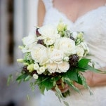 Romantic White Rose and Mountain Wildflower Bouquet | Wedding Memories | See More! https://heyweddinglady.com/alpine-wedding-in-austria-from-wedding-memories/