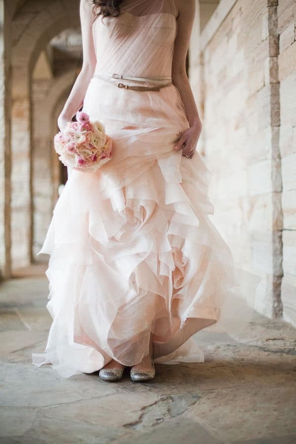 Relaxed Glam Blush Vera Wang Wedding Dress | James Christianson Photography | See More! http://heyweddinglady.com/bridal-styling-secrets-from-my-favorite-fashion-blogs/