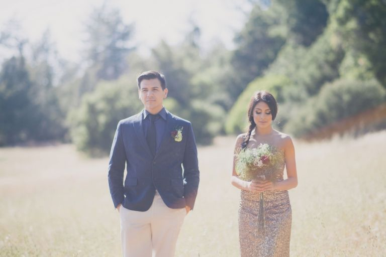 Gold Sequins and a Dapper Blue Suit for a Rustic Glam California Elopement | Alexandra Wallace Photography | See More! http://heyweddinglady.com/the-ultimate-rustic-glam-elopement-from-alexandra-wallace-photography/