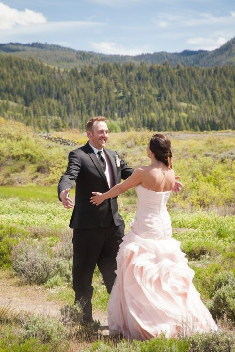 First Look for a Romantic Rustic Wedding in Wyoming   Heather Erson Photography   See More! http://heyweddinglady.com/wild-mountain-wedding-with-a-blush-gown-from-heather-erson-photography/