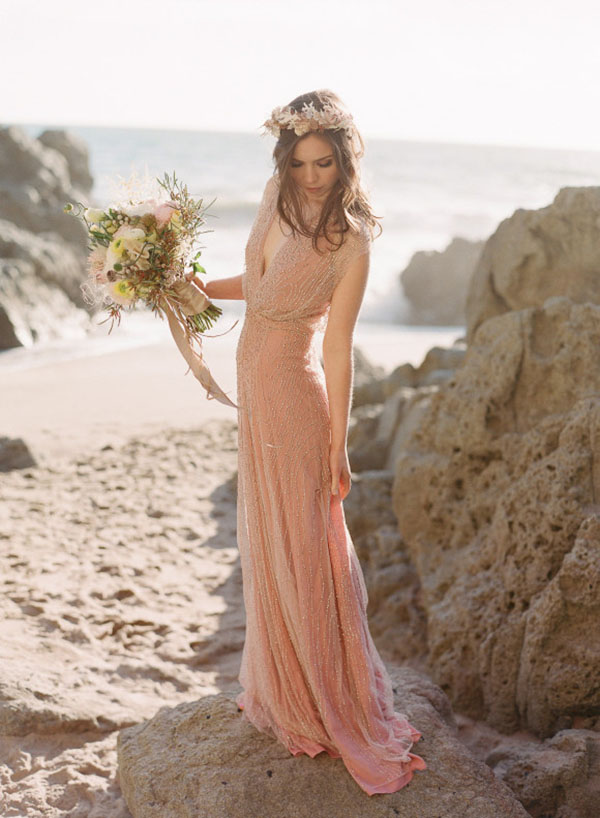 Blush Beaded Wedding Dress   Elizabeth Murray Photography   See More! http://heyweddinglady.com/fab-bridal-alternatives-white-wedding-dress/