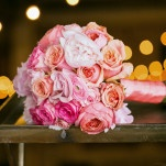 Glam Bridal Bouquet in Shades of Pink | Erin Johnson Photography | See More! https://heyweddinglady.com/romantic-industrial-glam-wedding-from-erin-johnson-photography/