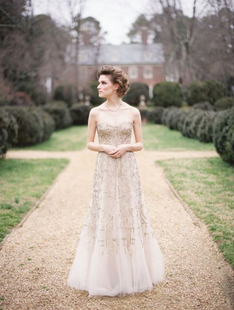 Metallic Gold Monique Lhuillier Wedding Dress Elisa Bricker Photography See More Https