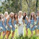 Preppy Chic Bridesmaids in Navy and White Striped Dresses | Dawn Huemann Photography | See more! https://heyweddinglady.com/sweet-and-stylish-mountaintop-wedding-by-dawn-heumann-photography/