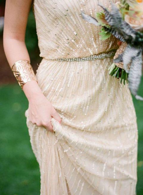 Glittering Champagne Wedding Dress