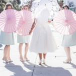 Vintage Bridal Party with Parasols | Brit Jaye Photography | See More! https://heyweddinglady.com/vintage-nautical-wedding-on-a-yacht-from-brit-jaye-photography/