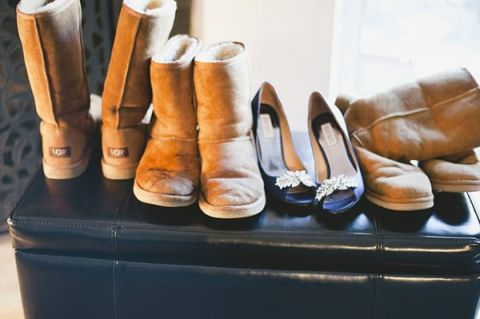 Ugg Boots for the Snow and Jeweled Peep Toe Heels for the Wedding! | Anastasia Photography | See More! http://heyweddinglady.com/luxe-snowy-winter-wedding-from-anastasia-photography/