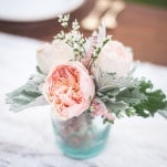 Peach and Aqua Rose Centerpiece | Maddie K. Doucet Photography | See More! https://heyweddinglady.com/punk-princess-bride-wedding-styled-shoot-from-maddie-k-doucet-photography/
