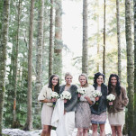 Gorgeous Bridesmaids in Glittering Vintage Dresses | Anastasia Photography | See More! https://heyweddinglady.com/luxe-snowy-winter-wedding-from-anastasia-photography/