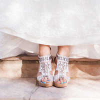 Glamorous Silver Wedding Shoes | Dina Remi Studios | See More! https://heyweddinglady.com/peach-and-blush-vintage-shabby-chic-wedding-inspiration-from-dina-remi-studios/