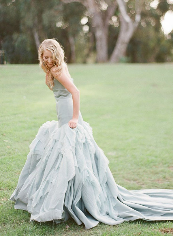 Powder Blue Tara de la Tour Wedding Dress | Blush Wedding Photography | See More! http://heyweddinglady.com/fab-bridal-alternatives-white-wedding-dress/