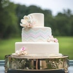Peach Pastel Chevron Wedding Cake | Maddie K. Doucet Photography | See More! http://heyweddinglady.com/punk-princess-bride-wedding-styled-shoot-from-maddie-k-doucet-photography/