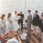 A Vintage Nautical Wedding Ceremony on San Diego Bay | Brit Jaye Photography | See More! https://heyweddinglady.com/vintage-nautical-wedding-on-a-yacht-from-brit-jaye-photography/