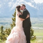 Stunning Mountain Wedding Ceremony with a Blush Wedding Gown | Heather Erson Photography | See More! https://heyweddinglady.com/wild-mountain-wedding-with-a-blush-gown-from-heather-erson-photography/