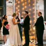 A Wall of Lights for a Romantic Modern Ceremony Backdrop | Erin Johnson Photography | See More! https://heyweddinglady.com/romantic-industrial-glam-wedding-from-erin-johnson-photography/