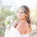 Jeweled Floral Wedding Headpiece | Dina Remi Studios | See More! https://heyweddinglady.com/peach-and-blush-vintage-shabby-chic-wedding-inspiration-from-dina-remi-studios/