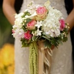 Romantic Blush and Ivory Bridal Bouquet | Pepper Nix Photography | See More! https://heyweddinglady.com/classic-vintage-blush-and-ivory-wedding-from-pepper-nix-photography/