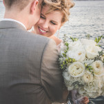 A Romantic Green and White Bridal Bouquet for a Nautical Wedding | Brit Jaye Photography | See More! https://heyweddinglady.com/vintage-nautical-wedding-on-a-yacht-from-brit-jaye-photography/