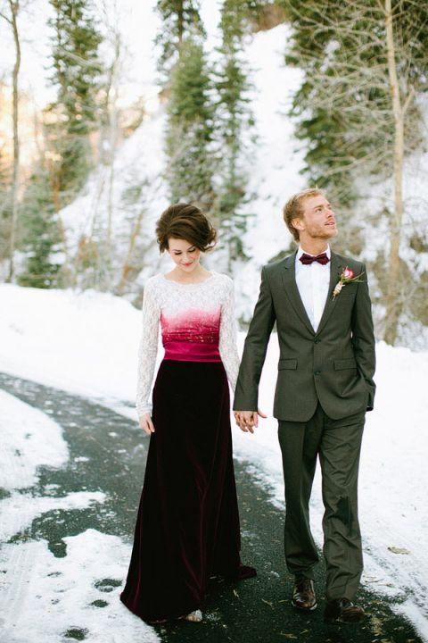 Ombre Burgundy Wedding Dress