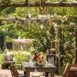 Summer Brunch Wedding with Vintage Decor | Lovely and Light | See More! http://heyweddinglady.com/southern-garden-wedding-brunch-in-jewel-tones-from-lovely-and-light/