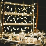 Love this backdrop of twinkle light for the Head Table! | Anastasia Photography | See More! https://heyweddinglady.com/luxe-snowy-winter-wedding-from-anastasia-photography/