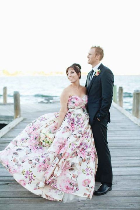 Pink And Lavender Floral Print Wedding Dress