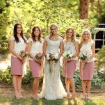 Blush and Ivory Bridesmaids | Pepper Nix Photography | See More! https://heyweddinglady.com/classic-vintage-blush-and-ivory-wedding-from-pepper-nix-photography/