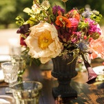 Summer Rose and Peony Centerpiece | Lovely and Light | See More! https://heyweddinglady.com/southern-garden-wedding-brunch-in-jewel-tones-from-lovely-and-light/
