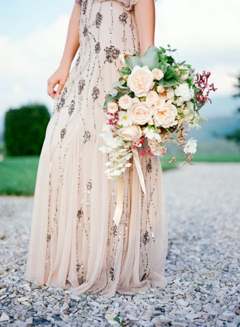 Blush Beaded Adrianna Papell Wedding Dress | Heather Payne Fine Art Photography | See More! https://heyweddinglady.com/elegant-country-manor-wedding-inspiration-in-marble-and-blush/