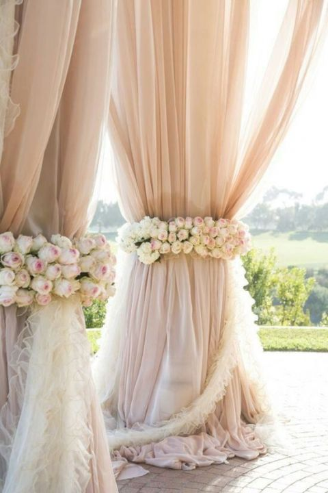 Blush Chiffon Ceremony Draping | Samuel Lippke Studios | See More! https://heyweddinglady.com/elegant-country-manor-wedding-inspiration-in-marble-and-blush/
