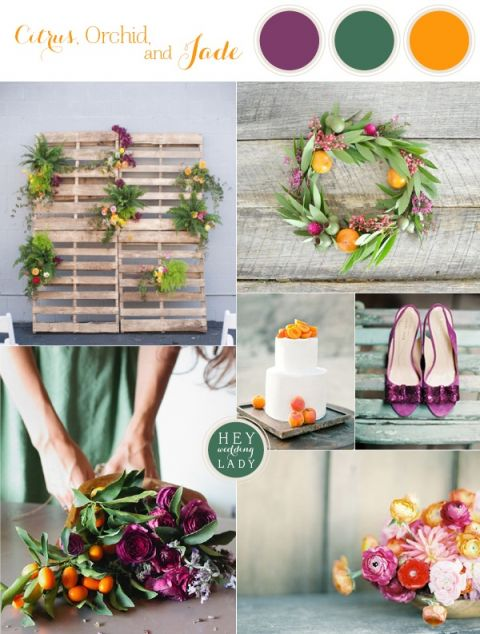 Modern Industrial Wedding Inspiration in Citrus, Orchid, and Jade | See More! http://heyweddinglady.com/citrus-orchid-and-jade-modern-industrial-wedding-inspiration/