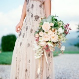 Blush Beaded Adrianna Papell Wedding Dress | Heather Payne Fine Art Photography | See More! https://heyweddinglady.com/elegant-country-manor-wedding-inspiration-in-marble-and-blush/