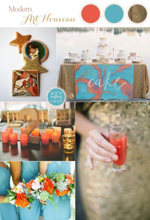 Modern Art Nouveau Wedding Inspiration in Glittering Gold, Aqua, and Burnt Orange | See More! https://heyweddinglady.com/modern-art-nouveau-wedding-inspiration-glittering-gold-orange-blue/