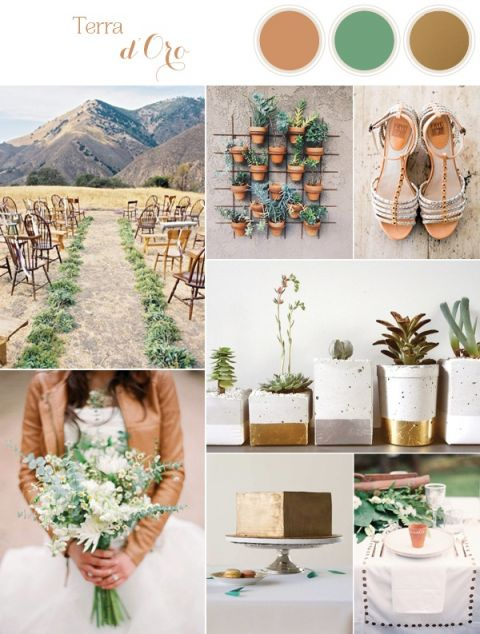 Natural Earthy Wedding Inspiration in Sophisticated Rustic Shades of Terra Cotta, Matte Gold, and Green | See More! http://heyweddinglady.com/natural-earthy-wedding-inspiration-in-terra-cotta-gold-green/
