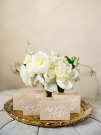 Elegant Neutral Calligraphy Wedding Escort Cards | Jose Villa Photography | See More! https://heyweddinglady.com/cashmere-and-champagne-warm-neutral-wedding-inspiration/