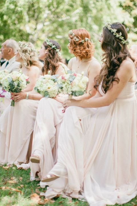 Warm Neutral Bridesmaids Dresses with Loose Curls and Flower Crowns | Wookie Photography | See More! https://heyweddinglady.com/cashmere-and-champagne-warm-neutral-wedding-inspiration/