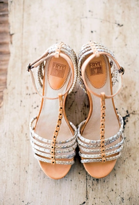Fawn and Silver Wedding Sandals | Corbin Gurkin Photography | See More! http://heyweddinglady.com/natural-earthy-wedding-inspiration-in-terra-cotta-gold-green/