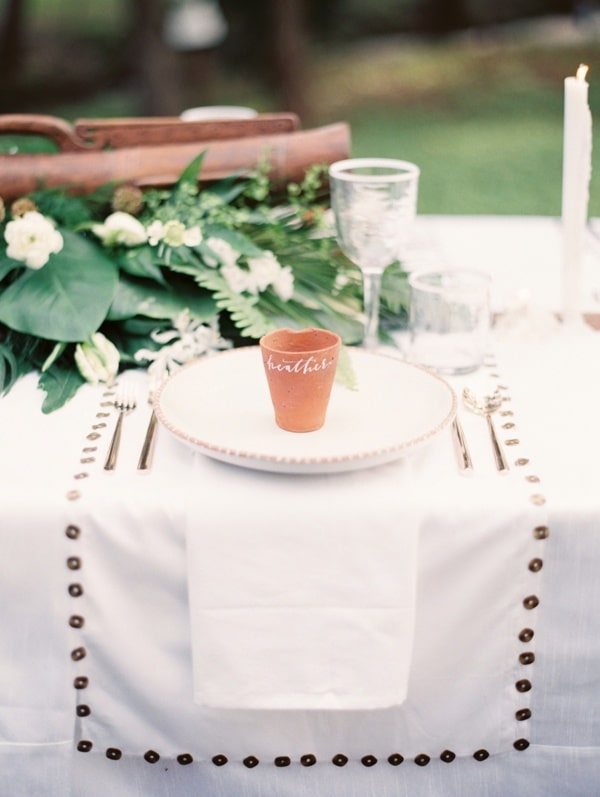 Rustic Whitae, Green and Terra Cotta Place Setting | Taylor Lord Photography | See More! http://heyweddinglady.com/natural-earthy-wedding-inspiration-in-terra-cotta-gold-green/