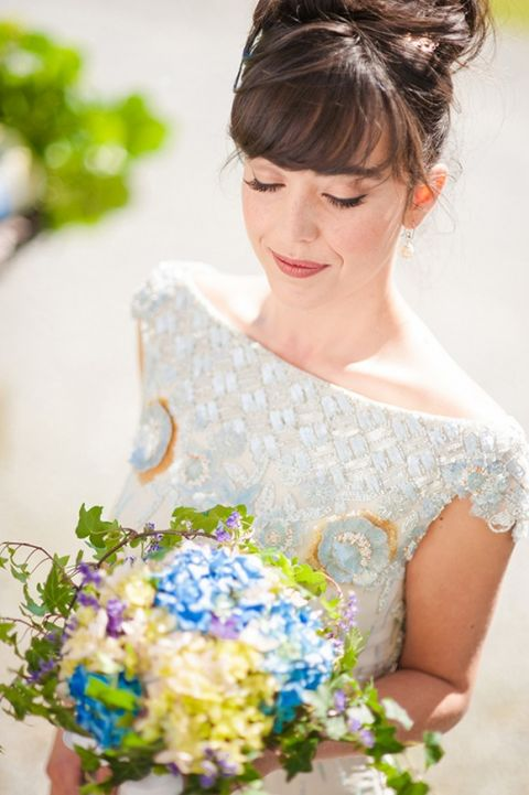 Classic Blue, White, and Green Basque Wedding Inspiration with a Glittering Vintage Dress   Plenty to Declare Weddings   See More! http://heyweddinglady.com/classic-basque-wedding-inspiration-in-san-sebastian/