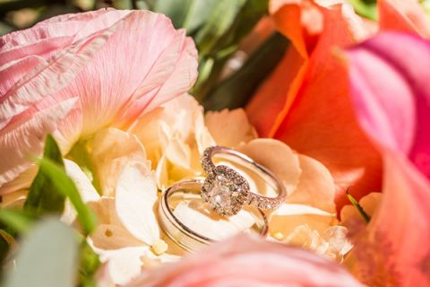 Tropical Flowers and an Engagement Ring | D. Park Photography | See More! https://heyweddinglady.com/coral-peach-and-aqua-wedding-by-the-sea/