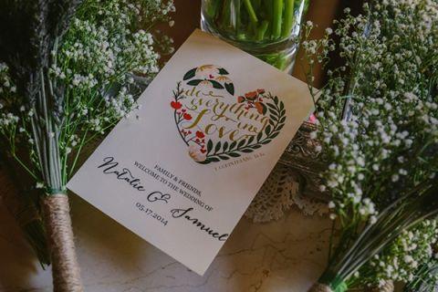 Sweet Hand Drawn Wedding Program | PhotoHouse Films | See More! https://heyweddinglady.com/ethereal-texas-garden-wedding-in-gray-pink-and-gold/